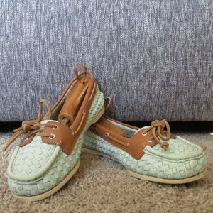 Sea Foam Green Woven Sperry Topsider Loafers 8
